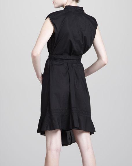 Asymmetric Cotton Dress, Black