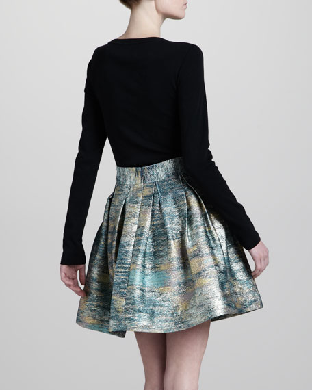 Rainbow-Metallic A-Line Skirt