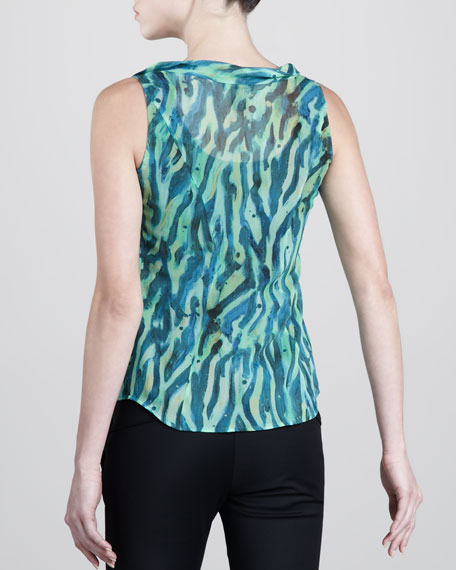 Tiger-Print Sleeveless Blouse