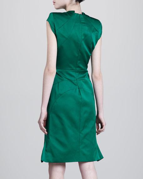 Contoured V-Neck Dress, Emerald