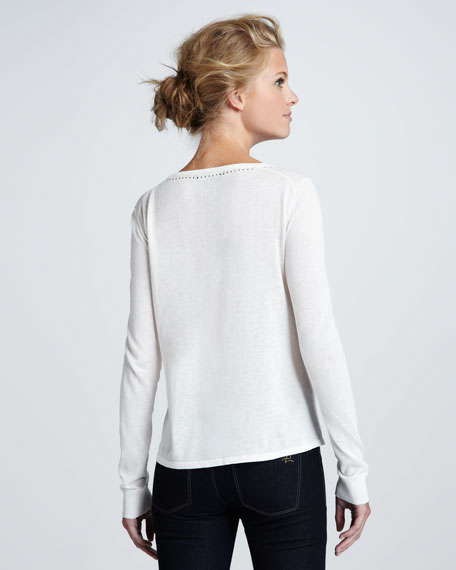 Layered Cotton-Silk Pullover