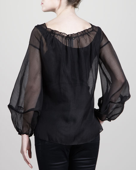 Striped Organza Top, Black