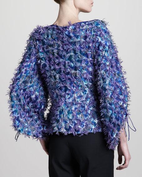 Fringed Silk Top, Blue