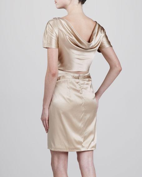Silk Short-Sleeve Dress, Beige