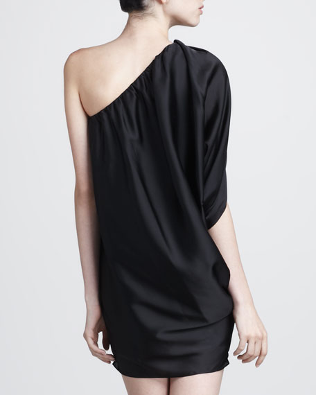 One-Shoulder Batwing-Sleeve Dress