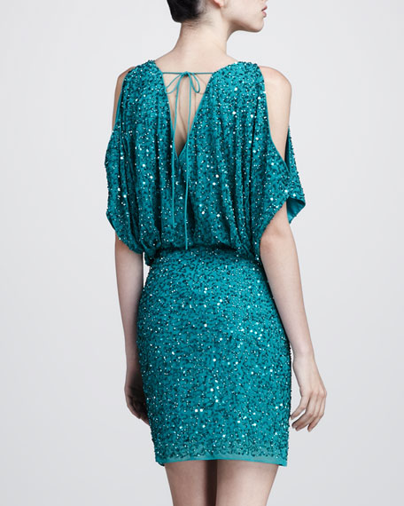 Sequined Cold-Shoulder Dress
