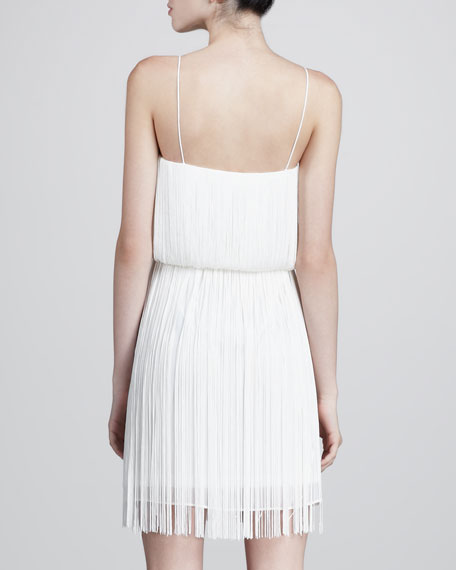 Fringed Spaghetti-Strap Dress