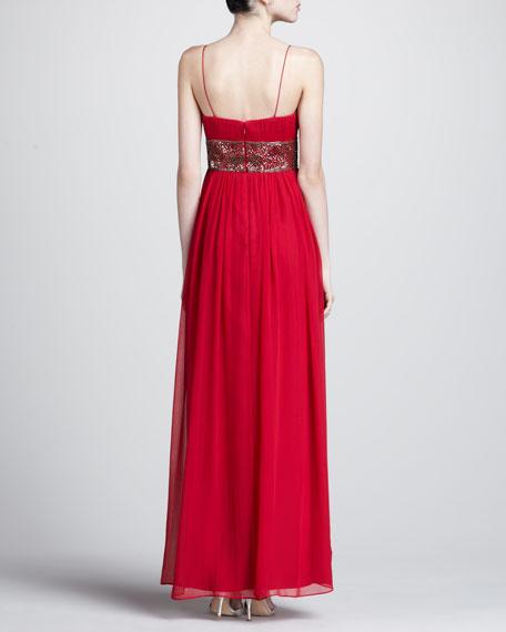 Bead-Waist Chiffon Gown