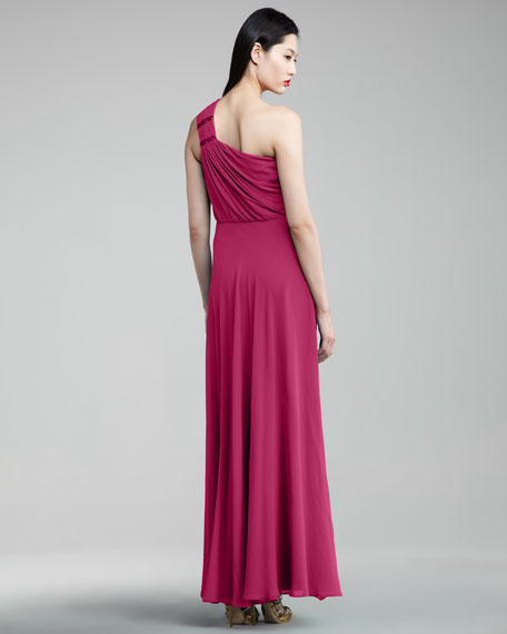 One-Shoulder Cinched Gown