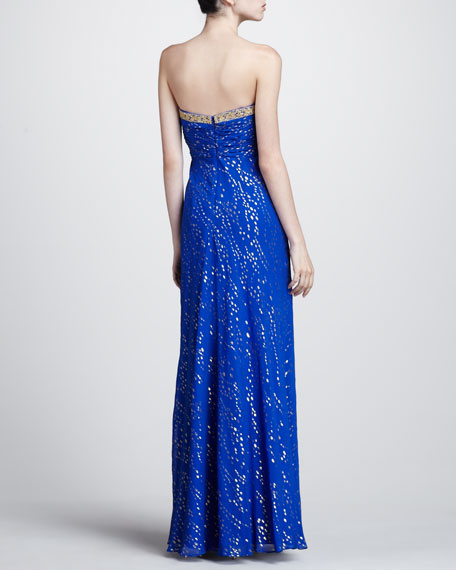 Metallic Speck Strapless Gown
