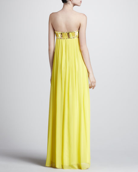 Beaded Bust Empire Gown