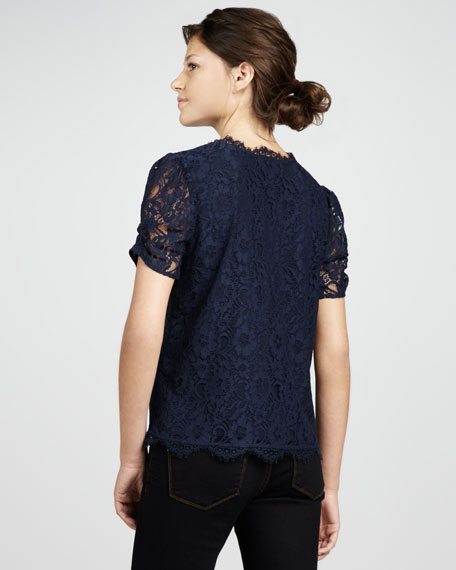 Brianda Lace Top, Navy
