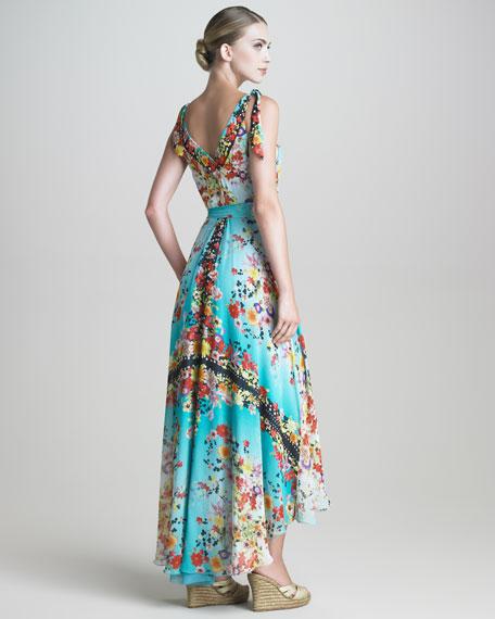 Silk Georgette Wrap Maxi Dress