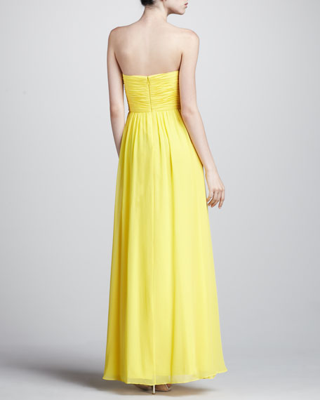 Wrapped Bodice Strapless Gown, Bright Yellow