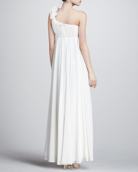 One-Shoulder Ruffled Empire Gown