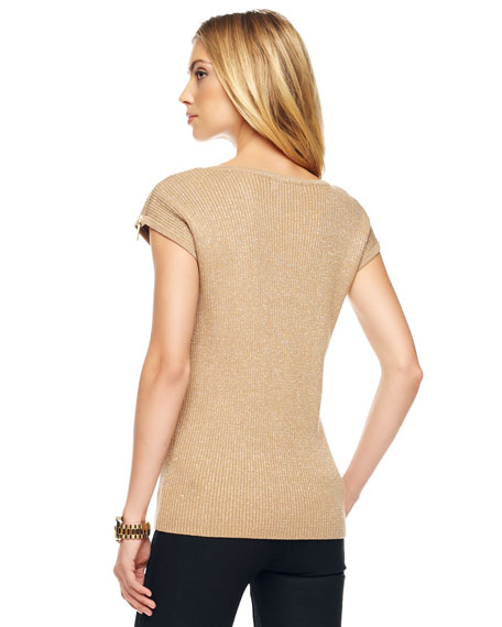 Shimmery Ribbed Knit Top