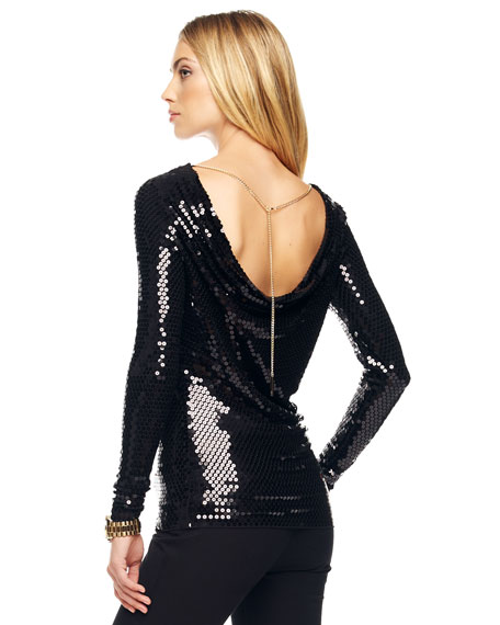 Sequined Drape-Back Top