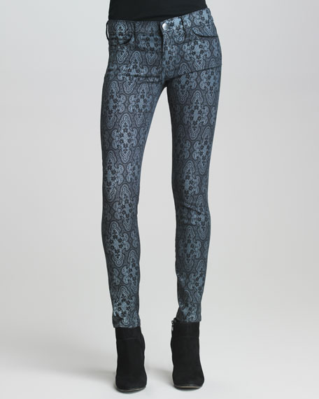 The Low-Rise Ankle Skinny Lace-Print Jeans