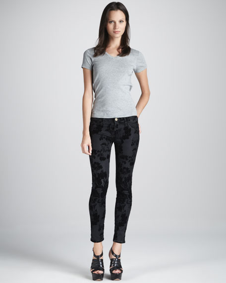 The Low-Rise Skinny Ankle Jeans, Black Velvet Floral