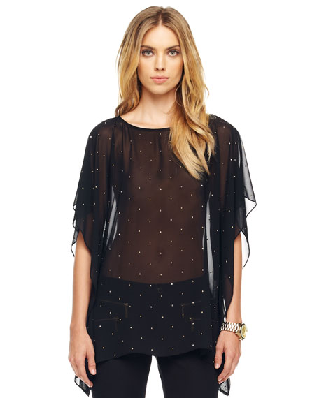 Sheer Studded Flutter Top