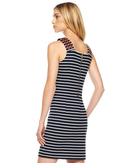 Buckle-Strap Striped Dress