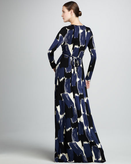 Caftan-Printed Maxi Dress, Women's
