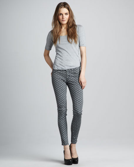 Nico Diamond Art Deco Printed Mid-Rise Super Skinny Jeans