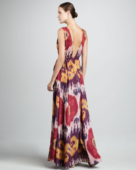Ikat-Print V-Neck Dress