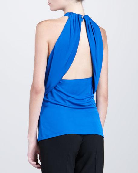 Wrapped Halter Top, Cobalt
