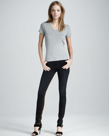 Skinny Brown Tinted Colorblock Jeans