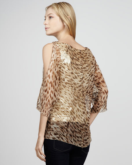 Welcome Leopard-Print Sequined Top