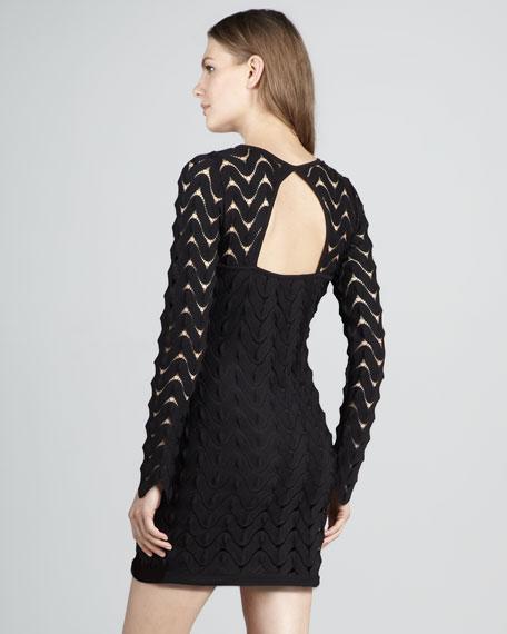Zigzag-Lace Minidress, Black