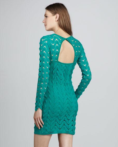 Zigzag-Lace Minidress, Turquoise