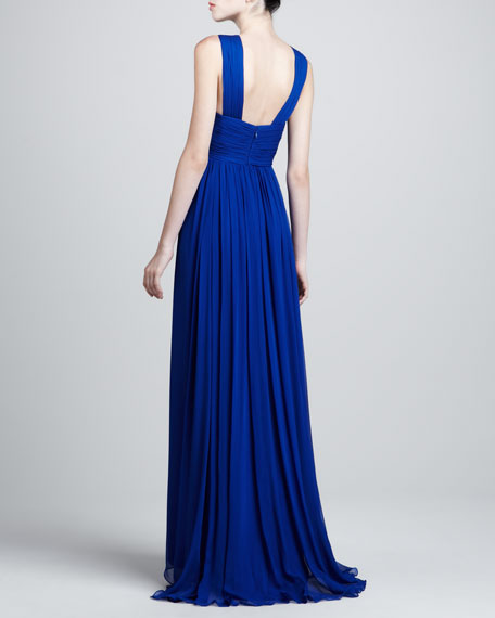 Sleeveless Embroidered Gown, Cobalt