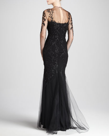 Leaf-Embroidered Illusion Gown