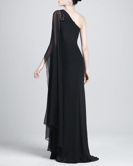 One-Sleeve Column Caftan Gown