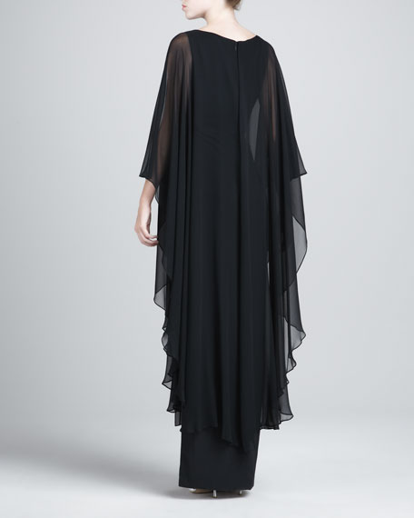 V-Neck Caftan Gown, Black