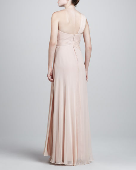 One-Shoulder Grecian Gown, Blush
