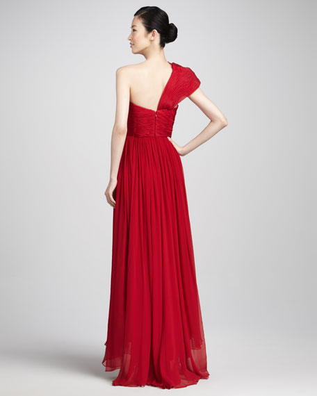 Ruffled One-Shoulder Gown, Red