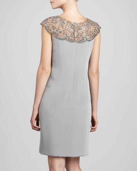 Illusion-Lace Cocktail Dress