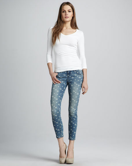 Ditsy Floral-Print Cropped Jeans