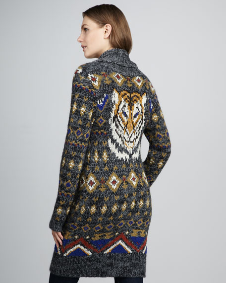 Jungle Tiger Long Toggle Sweater