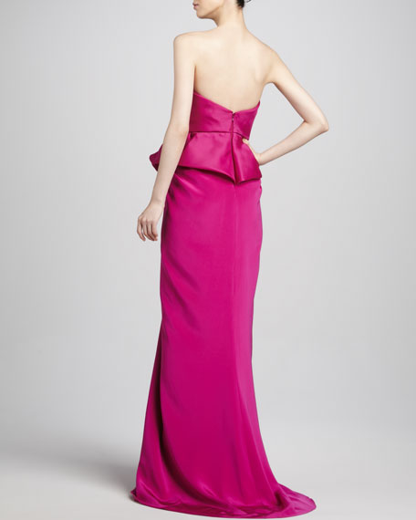 Structured Strapless Peplum Gown, Fuchsia