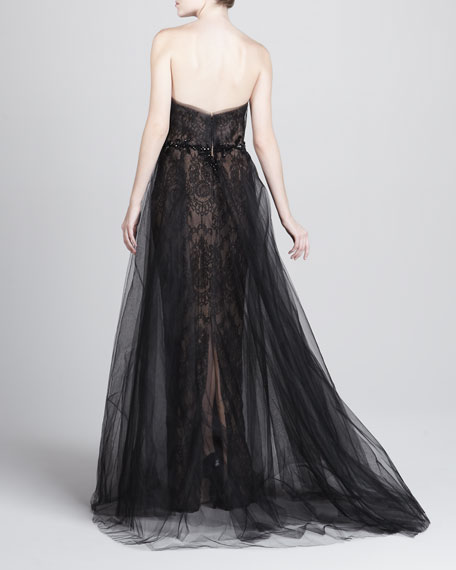 Bead-Waist Lace Ball Gown