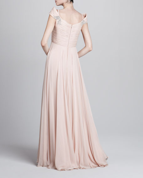 Bead-Embellished Chiffon Gown