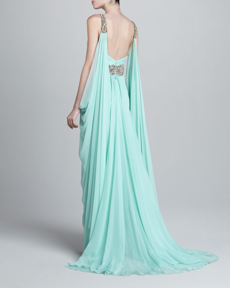 Deep-V Beaded Chiffon Gown