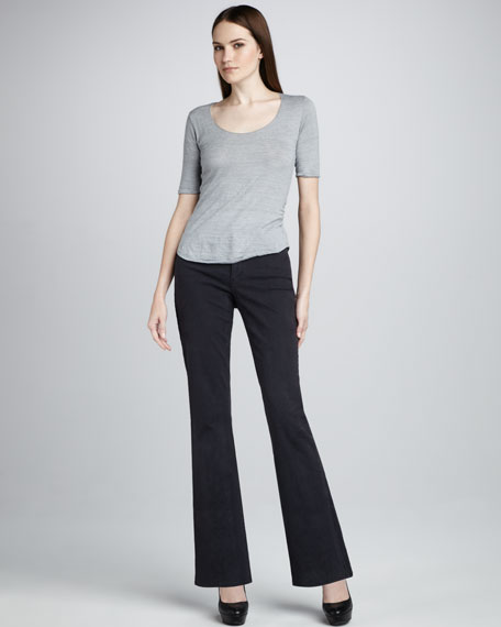 Nailhead Boot-Cut Jeans, Gray