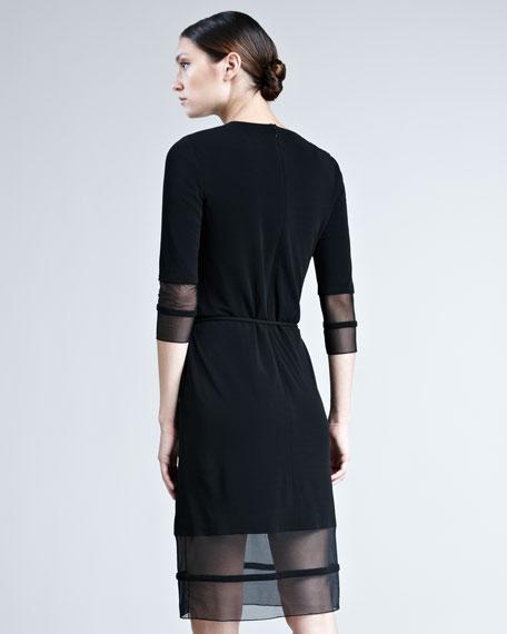 Mesh-Trim Jersey Dress