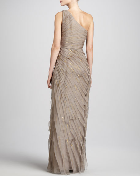 Pleated One-Shoulder Chiffon Gown
