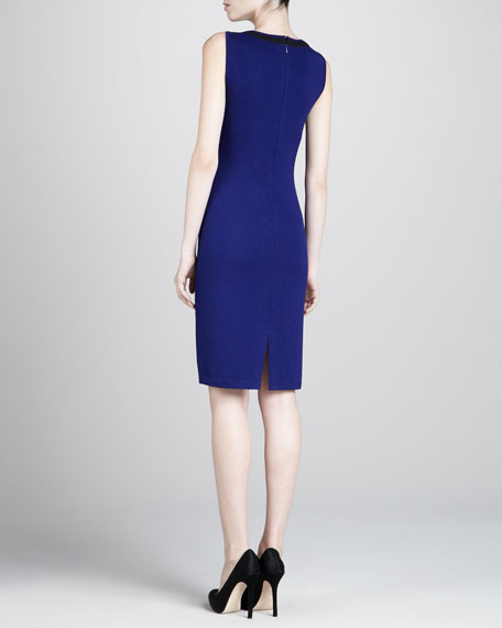 Santana Contrast Scoop-Neck Dress, Cobalt/Black